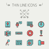 Multimedia thin line icon set. For web and mobile. Set includes -vintage mic, car stereo, news, station, news report, tv, camera shutter, media player, Cd, film Royalty Free Stock Image