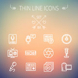 Multimedia thin line icon set. For web and mobile. Set includes- vintage mic, car stereo, news, station, news report, tv, camera shutter, media player, Cd, film Royalty Free Stock Images