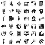 Multimedia things icons set, simple style. Multimedia things icons set. Simple set of 36 multimedia things vector icons for web isolated on white background Stock Images