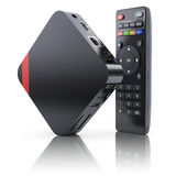 Multimedia and TV box receiver and player with remote controller Stock Photo