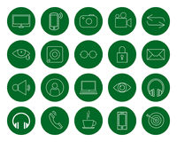 Multimedia for the user, a set of twenty  monochrome round linear icons, color change in one click, flat style. Multimedia for the user, a set of twenty Royalty Free Stock Photos