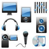 Multimedia vector icon set. Vector collection of glossy multimedia icons Stock Photography