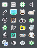 Multimedia  vector icons set. Set of 24 Multimedia  vector icons Royalty Free Stock Photography