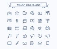 Multimedia vector icons set. Thin line outline 24x24 Grid. Pixel Perfect.Editable stroke. Stock Images