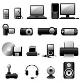 Multimedia-vektorikonenschwarzes Lizenzfreies Stockbild