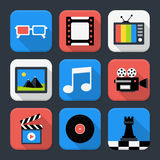 Multimedia, video and audio themed squared app icon set Stock Image