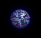 Multimedia Video Wall Sphere Stock Photography