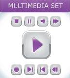 Multimedia violetas fijados Imagenes de archivo