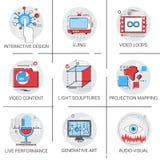 Multimedia visive contente Art Interactive Design Icon Set moderno del video Fotografia Stock