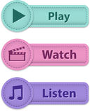 Multimedia web buttons Royalty Free Stock Image