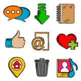Multimedia web icons and symbols. Multimedia web icons set with chat, download, notebook, like, e-mail, home, favorite, media and bin symbols Stock Photo