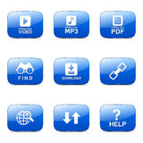 Multimedia Web Internet Square Vector Blue Icon Stock Image