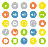Multimedia white line art digital icons Royalty Free Stock Image