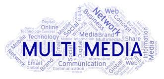 Multimedia woordwolk stock illustratie