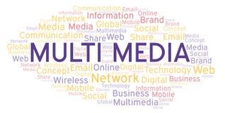 Multimedia woordwolk vector illustratie