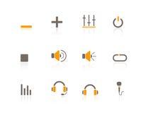 Multimedia y audio de los iconos del Web Foto de archivo libre de regalías