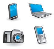 Multimedia y conjunto del icono de la comunicación Foto de archivo