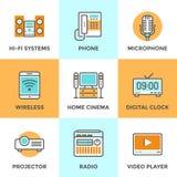 Multimediaapparatlinje symbolsuppsättning stock illustrationer