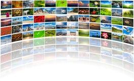 Multimediabakgrund av många bilder Royaltyfri Fotografi