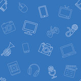 Multimediagegenstandmuster nahtlos Lizenzfreie Stockfotos