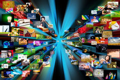 Multimediahintergrund. Bestanden aus vielen Bildern Lizenzfreies Stockfoto