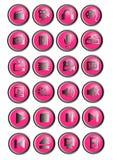 24 Multimediaikonen oder helle rosa und silberne Knöpfe Stockfotos