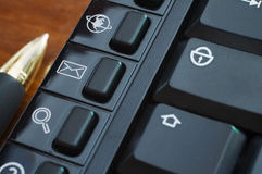 Multimedial keyboard buttons stock photography