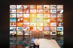 Multimedialna wideo ściany telewizi transmisja fotografia stock