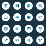 Multimedialne kolorowe ikony ustawiać Zdjęcie Royalty Free