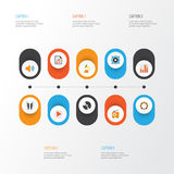 Multimedialne płaskie ikony ustawiać Kolekcja guzik Obraz Stock