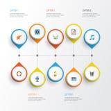 Multimedialne płaskie ikony ustawiać Kolekcja zaciszność, Pianoforte, rytm I Inni elementy, Także Zawiera symbole Tak jak Fotografia Stock