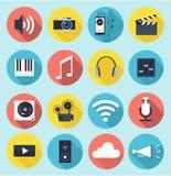 Multimedialne płaskie ikony z długimi cieniami Zdjęcia Royalty Free