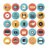 Multimedialne płaskie ikony ustawiać Fotografia Royalty Free