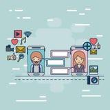 Multimedialne podaniowe ikony w przyrząd techniki smartphone komunikaci między kobietą i mężczyzna na kolorowy dekoracyjnym Obrazy Royalty Free