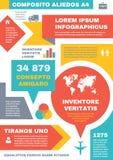 Multimedialny Infographic pojęcie - Abstrakcjonistyczny Wektorowy Biznesowy plan z ikonami i tekstów blokami Obraz Royalty Free