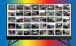 Multimedialny wiadomość kolaż na TV 3d wypadkowa samochodowa ilustracja odizolowywający odpłacający się biel Fotografie i ilustra Obraz Stock