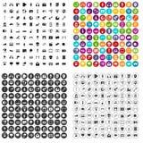 100 multimedialnych ikon ustawiający wektorowy wariant Obraz Royalty Free