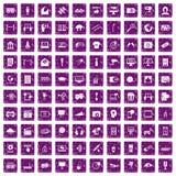100 multimedialnych ikon ustawiają grunge purpury Zdjęcia Stock