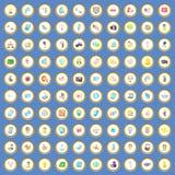 100 multimedialnych ikon ustawiają kreskówka wektor Obraz Stock