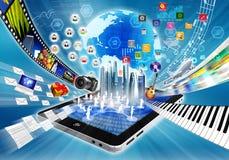 Multimedias e Internet que comparten concepto ilustración del vector