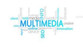 Multimedias, tipografía animada ilustración del vector