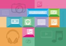 Multimediasymboler av användargränssnittbeståndsdelar Arkivfoto