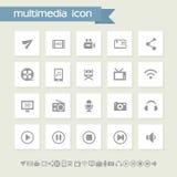 Multimediasymbolsuppsättning Enkla lägenhetknappar Arkivbilder