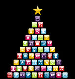 Multimeedia icons Christmas Tree stock illustration