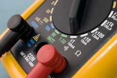 Multimeter. Yellow multimeter close up view stock image