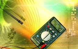 Multimeter. Digital illustration of  a multimeter and cable Royalty Free Stock Photography