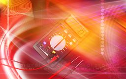 Multimeter. Digital illustration of  a multimeter in colour background Royalty Free Stock Photography