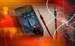 Multimeter. Digital illustration of  a multimeter and cable Stock Photo