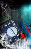 Multimeter. Digital illustration of  a multimeter in colour background Royalty Free Stock Photo