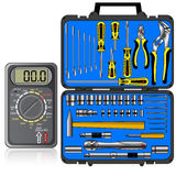 Multimeter of black color and set of different Royalty Free Stock Photos